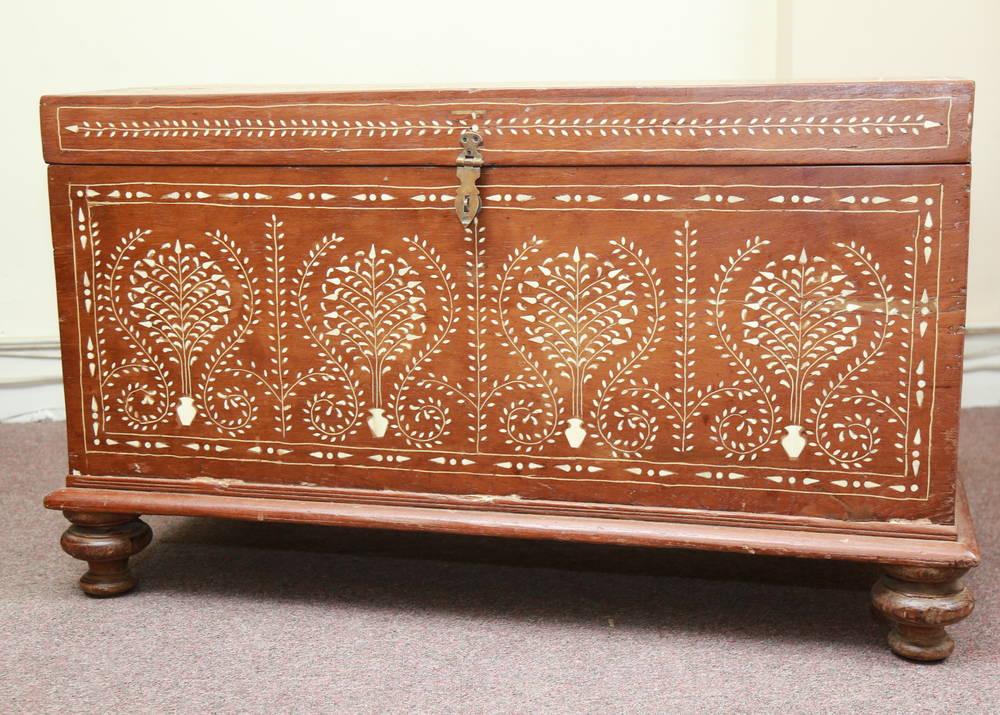 k55-574 indian furniture trunk bone inlay camel bone