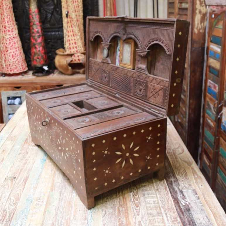indian furniture trunk bone inlay unusual original