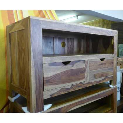 K56-zen560 indian furniture tv unit sheesham drawers grain
