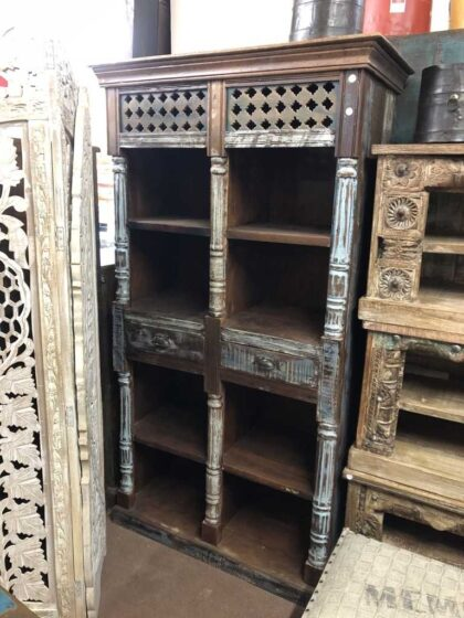 K73 3730 indian furniture bookcase unusual 8 hole 3 main