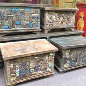 KH6-PIC-14 Indian Furniture Trunk Unusual Multi