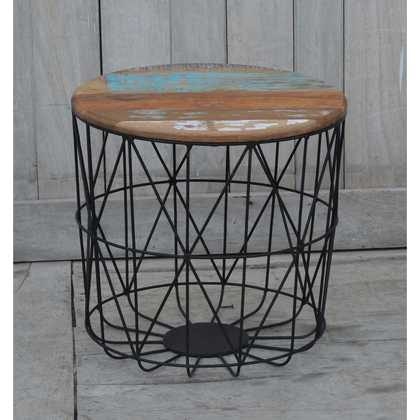 KH9-M-8141-a Indian Furniture Table Iron Wood 45x45x45 Reclaimed