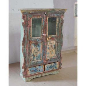 KH9-Rs-025 Indian Furniture Cabinet Painted Curvy