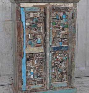 Reclaimed Carved Block Cabinet KR-06