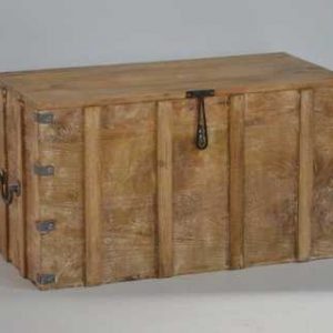 Distressed tall wooden trunk M-3515