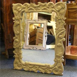 f010a indian furniture mirror small carved reflect