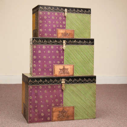 purple green indian furniture handpainted box set of 3 dsc0131
