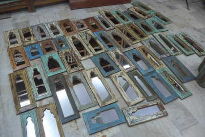 k13-RSO-17 indian furniture mirror mihrab unusual small yellow blue beige multi coloured