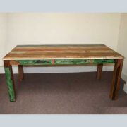 k45-rd180-2 indian furniture dining table reclaimed blue green
