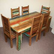 k45-rd180+dsc02474(6) indian furniture dining set reclaimed red seat