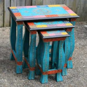 k49-dsc00747 indian furniture hand painted nest of tables electric blue