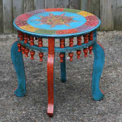 K49 Img_4736 Indian Furniture Hand Painted Table Round Red Leg
