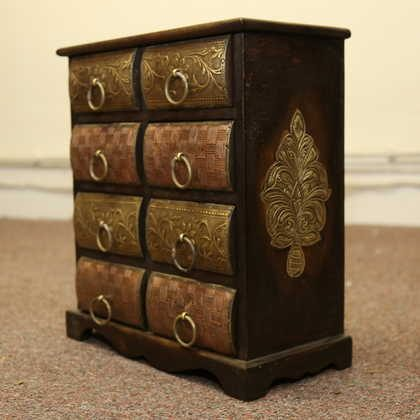 k51-579 indian furniture chest drawers jewelry unusual angle view