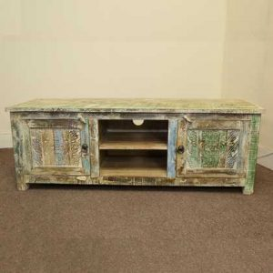 k51-MS-1003 indian furniture tv stand carved painted front view
