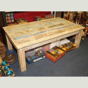 k51-MS-1008 indian furniture coffee table carved blue stripe