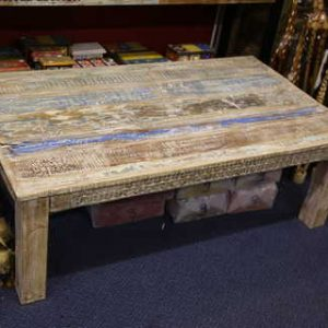 k51-MS-1008 indian furniture coffee table whitewash blue