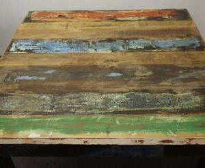 k52-rd-100 indian furniture dining table painted reclaimed stripey