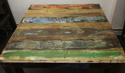 K52 Rd 100 Indian Furniture Dining Table Painted Reclaimed 2