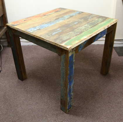 k52-rd-100 indian furniture dining table painted reclaimed angled view