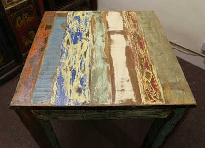 k52-rd-80 indian furniture dining table painted reclaimed colour stripes