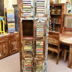 k54-6561 indian furniture cabinet tall slim reclaimed door