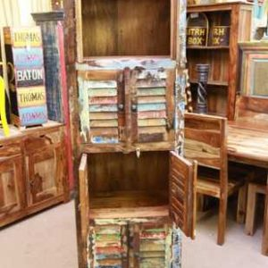 k54-6561 indian furniture cabinet tall slim reclaimed open