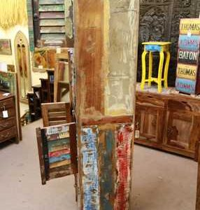 k54-6561 indian furniture cabinet tall slim reclaimed paint