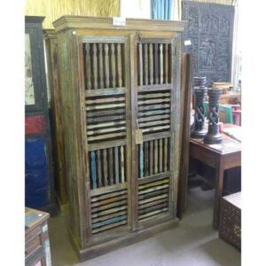 k55-465 indian furniture cabinet slatted closed