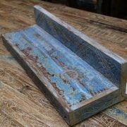 k55-471 indian furniture blue shelf carved sun