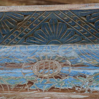 k55-471 indian furniture blue shelf carved pattern