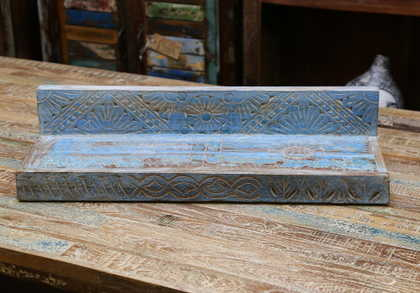 k55-471 indian furniture blue shelf carved flower