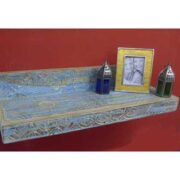 ak55-471 indian furniture wall shelf blue carved floating