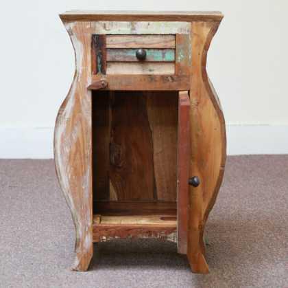 k55-503 indian furniture bedside curvy cupboard open