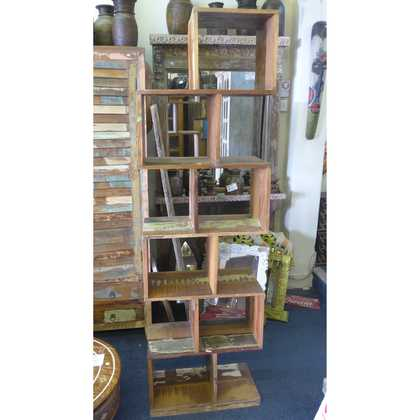 k55-567 indian furniture shelves zig zag reclaimed
