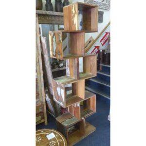 k55-567 indian furniture shelves zig-zag distressed