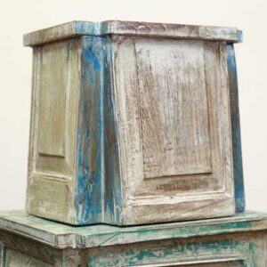 k55-725 indian furniture side table reclaimed small whitewash