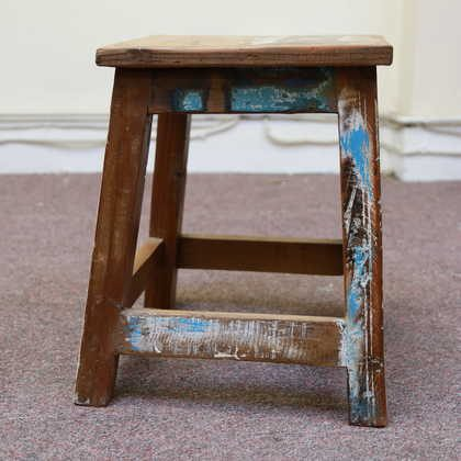 k55-757 indian furniture stool reclaimed blue