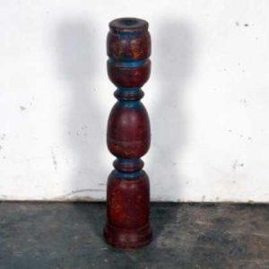 k57-437 indian furniture candlestick wood punjabi maroon