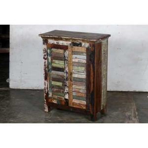 k57-730 indian furniture cabinet slatted angle view