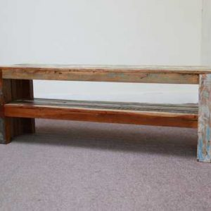 k58-1 indian furniture bench reclaimed shelf front