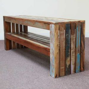 k58-1 indian furniture bench reclaimed shelf blue