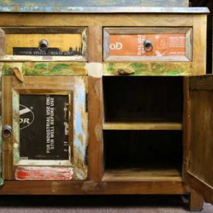 k58-462 indian furniture sideboard reclaimed unusual tin quirky