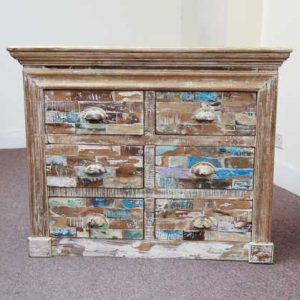 k58-706 indian furniture chest of drawers block multicolored front