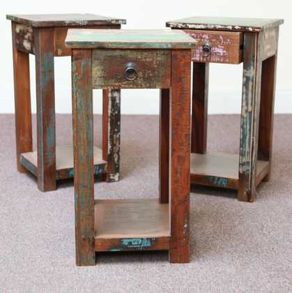 k58-8400 indian furniture side table bedside reclaimed three