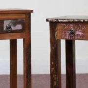 k58-8400 indian furniture side table bedside reclaimed tall unusual