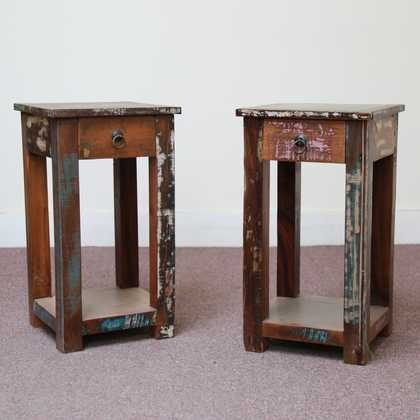 k58-8400 indian furniture side table bedside reclaimed twin