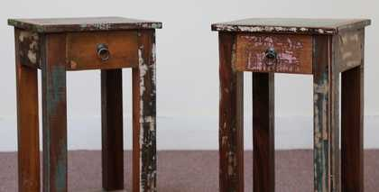 k58-8400 indian furniture side table bedside reclaimed two