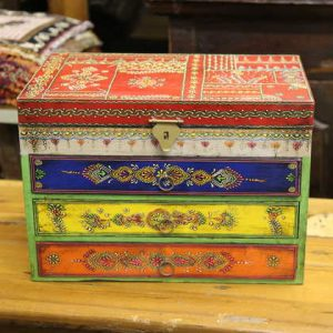 k58-877 indian gift jewellery box drawers colourful front