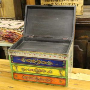 k58-877 indian gift jewellery box drawers colourful open