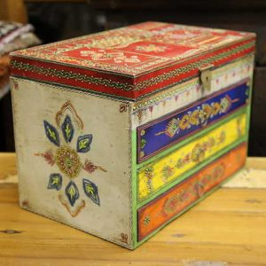 k58-877 indian gift jewellery box drawers colourful side detail